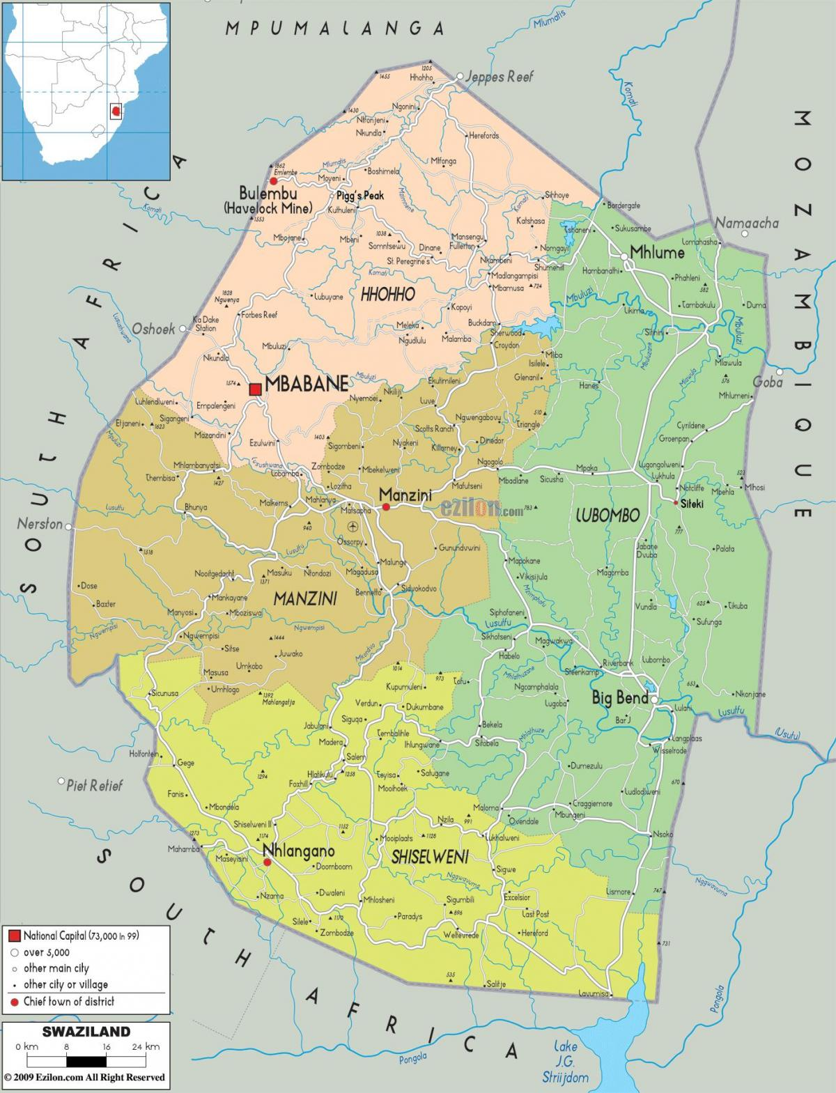 Map of manzini Swaziland
