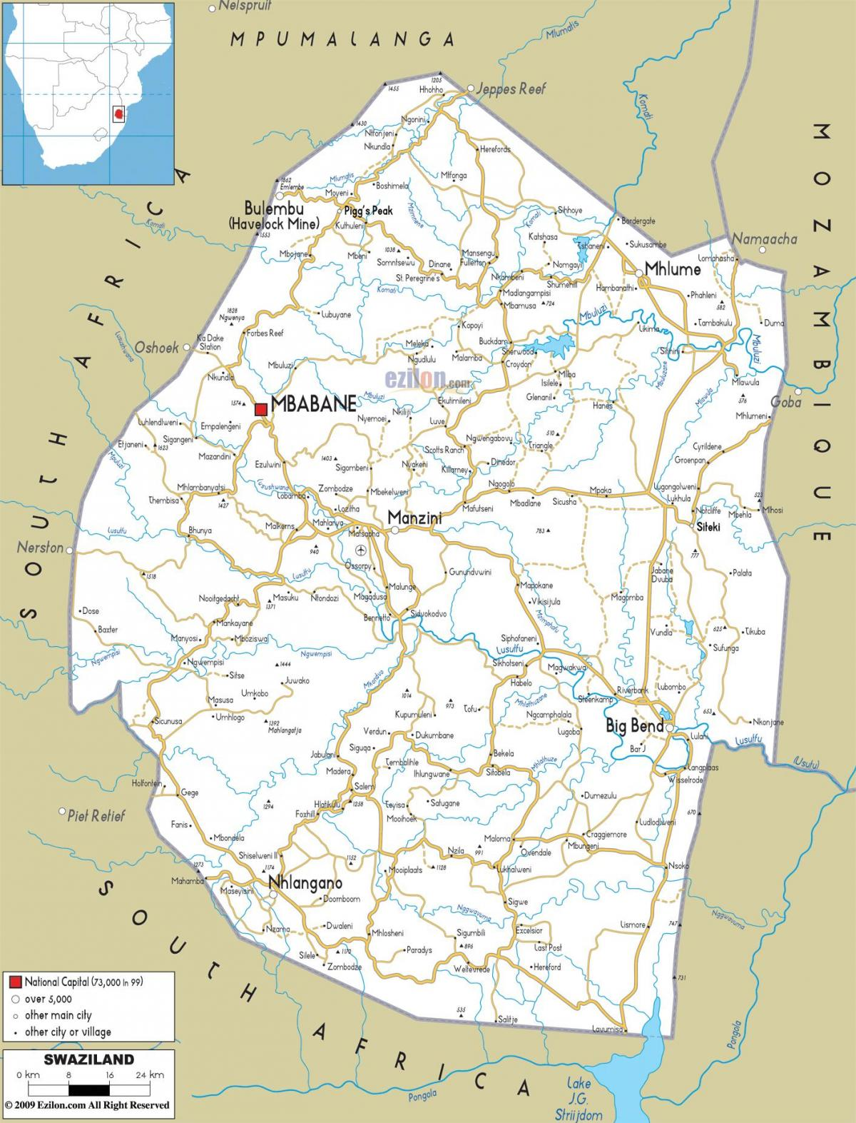 the map of Swaziland