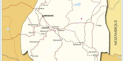 Map of Swaziland towns