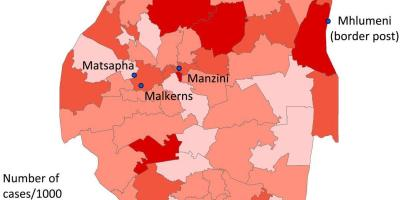 Map of Swaziland malaria